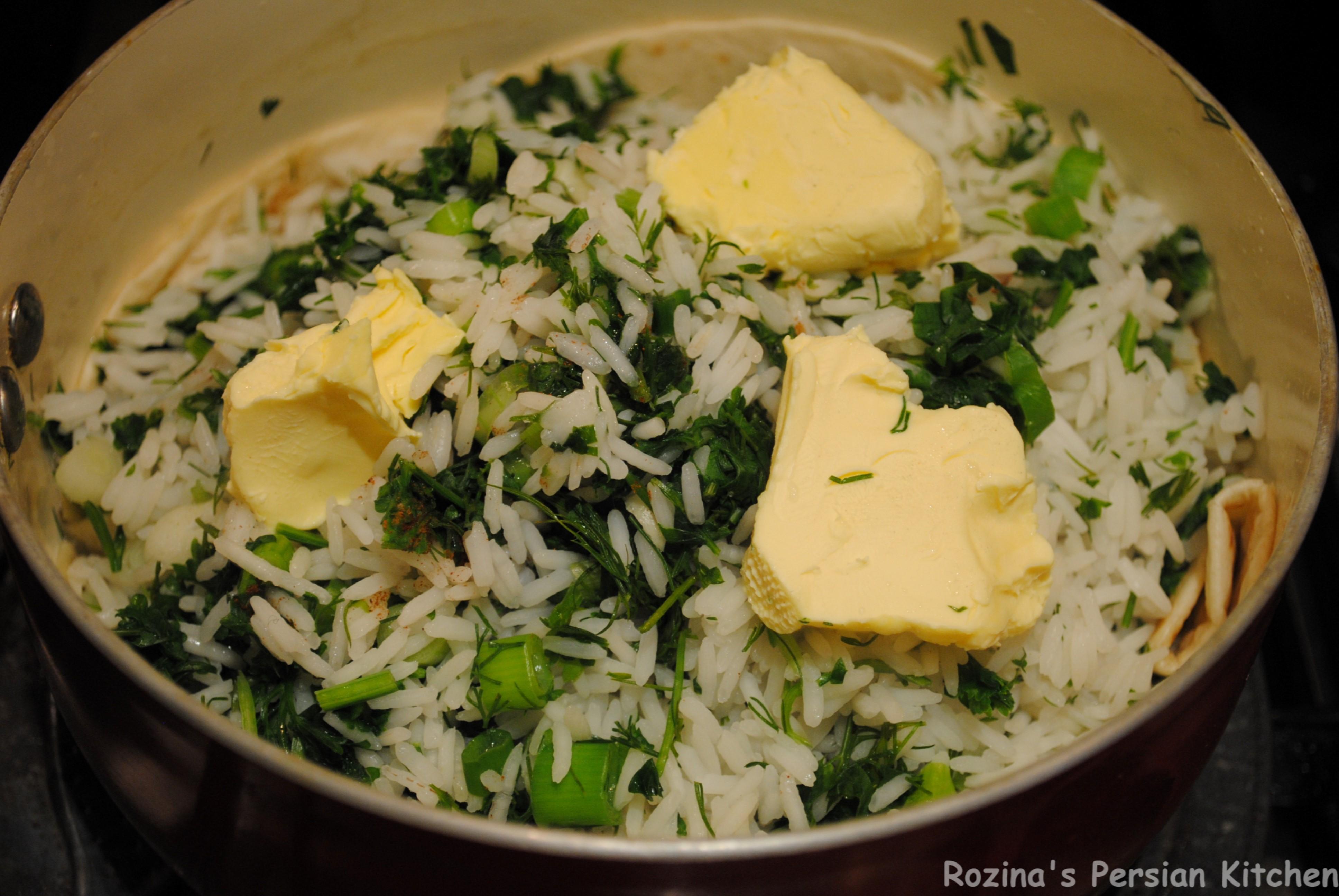 Persian herb rice with fish ( Sabzi polow ba mahi ...